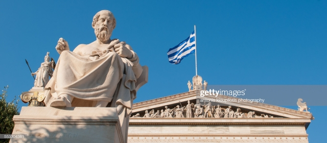 The statue of Plato in front of the Academy of Athens